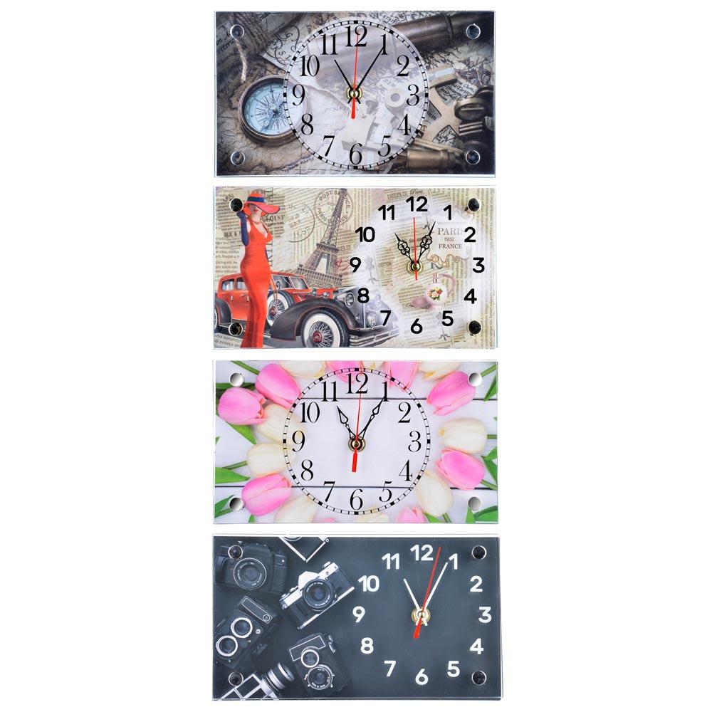 Часы настольные прямоугольной формы, стекло, 13х23см,  3 дизайна ГЦ арт 2