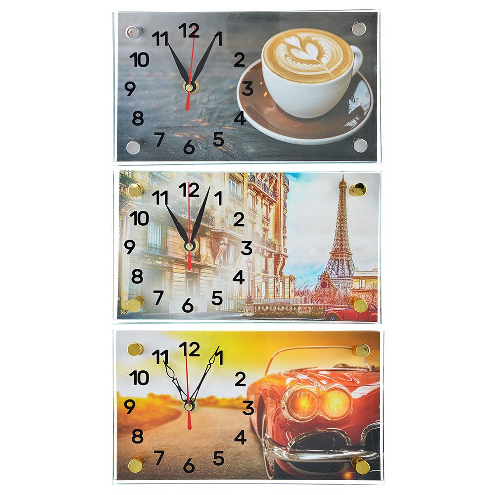 Часы настольные прямоугольной формы, стекло, 13х23см,  3 дизайна ГЦ арт 3