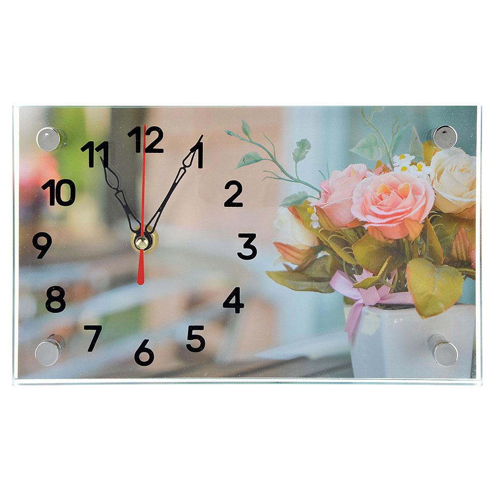 Часы настольные прямоугольной формы, стекло, 13х23см,  3 дизайна ГЦ арт 4