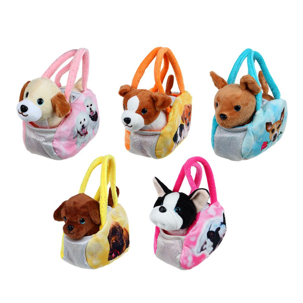 ИГРОЛЕНД Мягкая игрушка в сумке, текстильные материалы, 18х27х13см, 3 дизайна