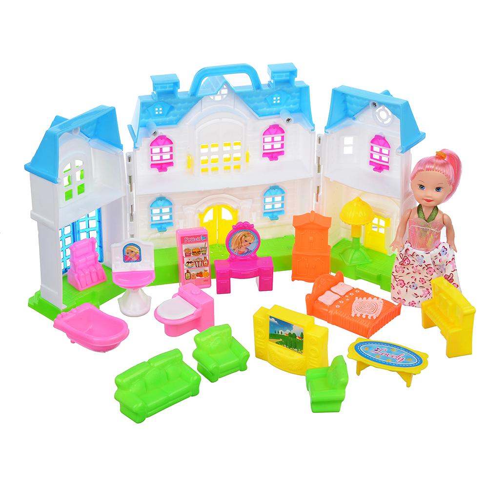 """ИГРОЛЕНД Набор """"Дом для куклы с мебелью и куклой"""", пластик, 38х28х5,2см"""