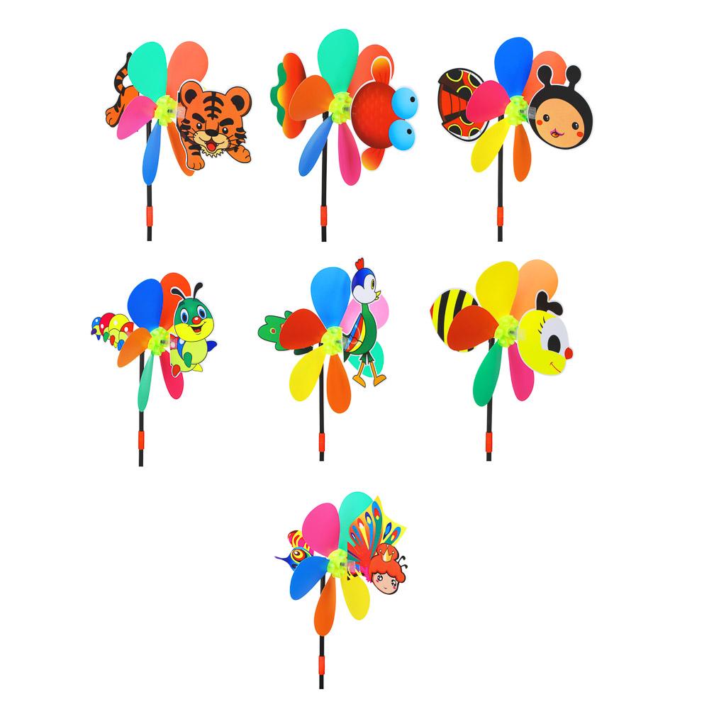 Ветрячок детский, 2 вертушки-цветочка, 47см, пластик, 18х27см, 2-4 дизайна