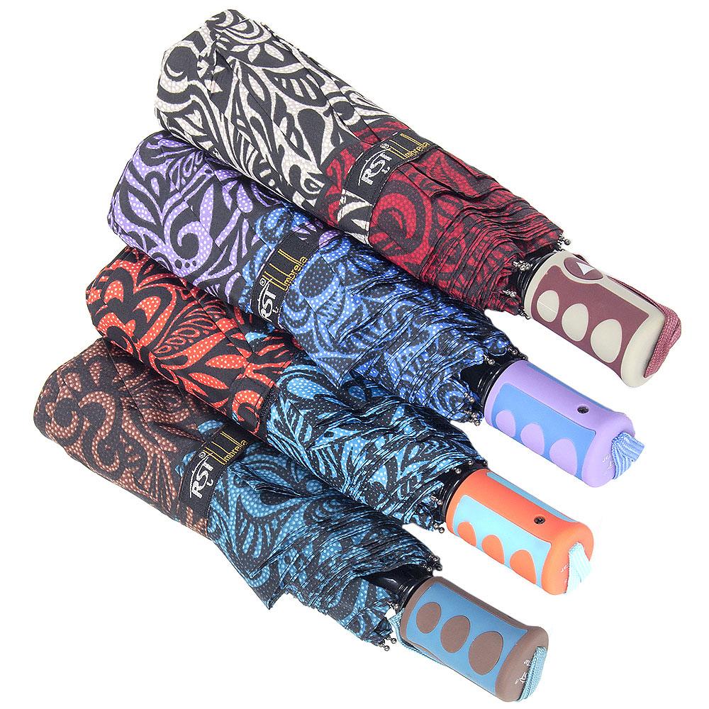 Зонт женский, полуавтомат, сплав, пластик, полиэстер, длина 55см, 8 спиц, 4 цвета,3636А