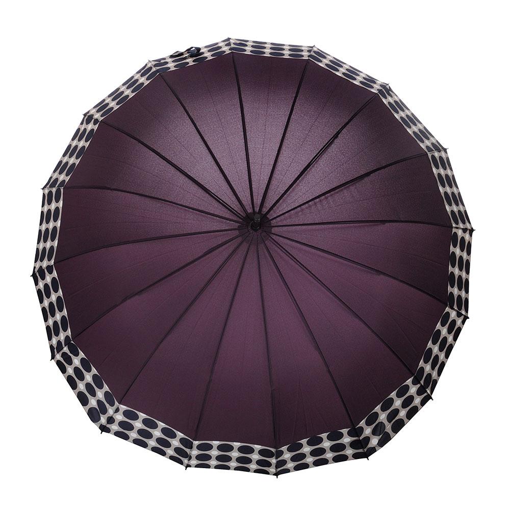 Зонт-трость женский, сплав, пластик, полиэстер, длина 65см, 16 спиц, 4-6 цветов,1377