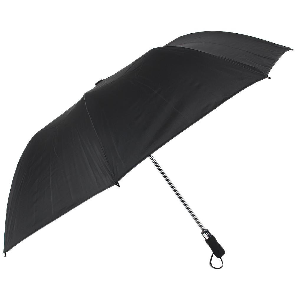 Зонт мужской, полуавтомат, сплав, пластик, полиэстер, длина 70см, 8спиц, черный, 2501B