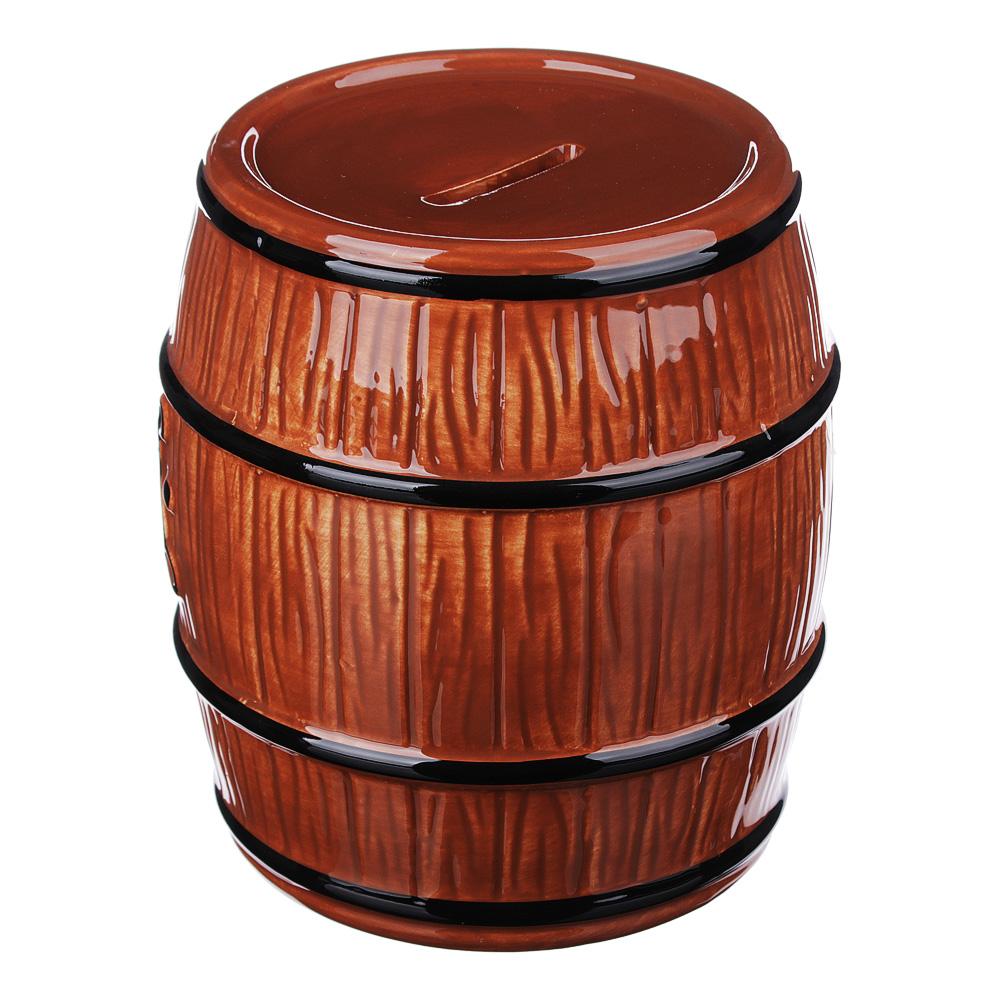 Копилка в виде пивной бочки, керамическая, 12,8х12,8х14,5см, 2 цвета
