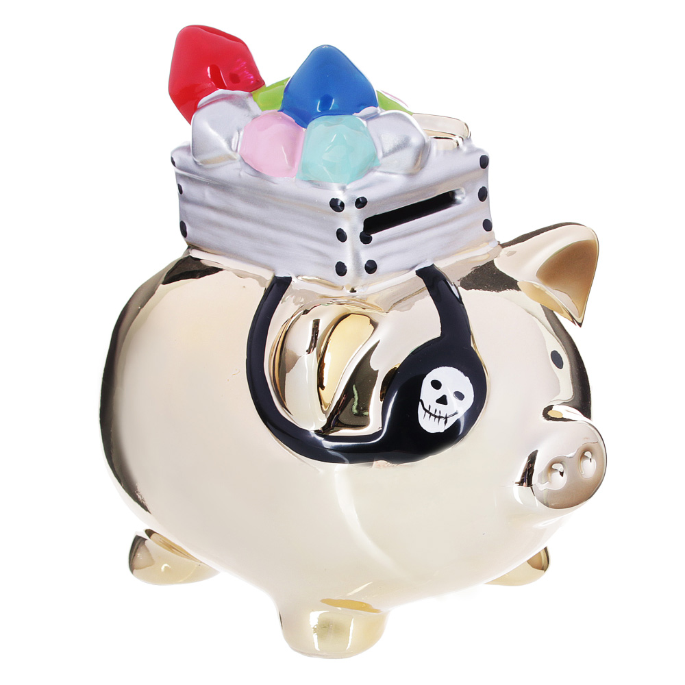 Копилка в виде свинки с сокровищами, керамическая, 17х12,5х16,8см