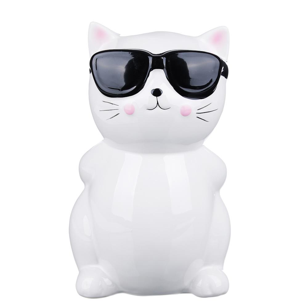 Копилка в виде кошки в очках, керамическая, 13х12х19,5см