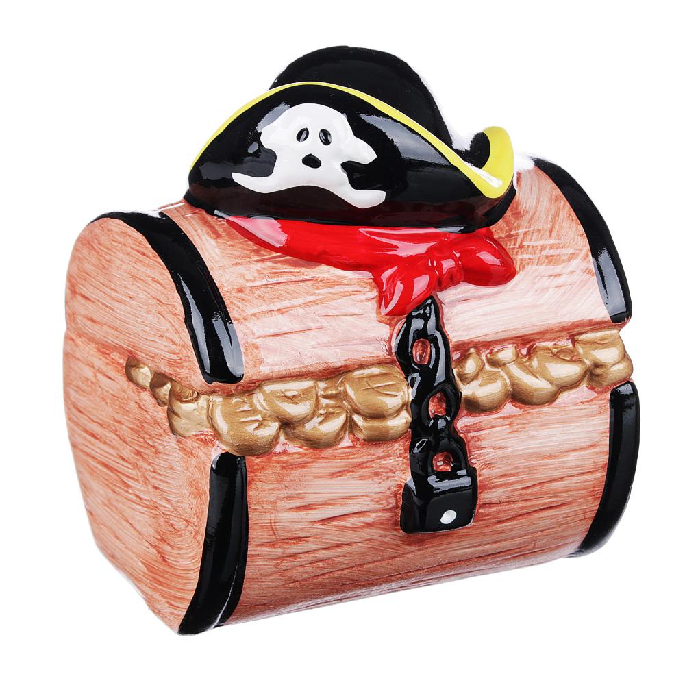 Копилка в виде пиратского сундука, керамическая, 10,8х10х12,5см