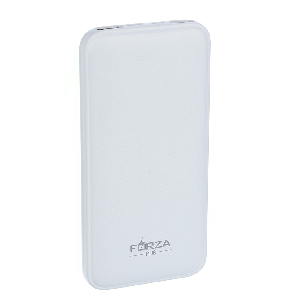FORZA Аккумулятор мобильный Стандарт, 10000мАч, 2 USB, Type-C порт, 2A, Белый