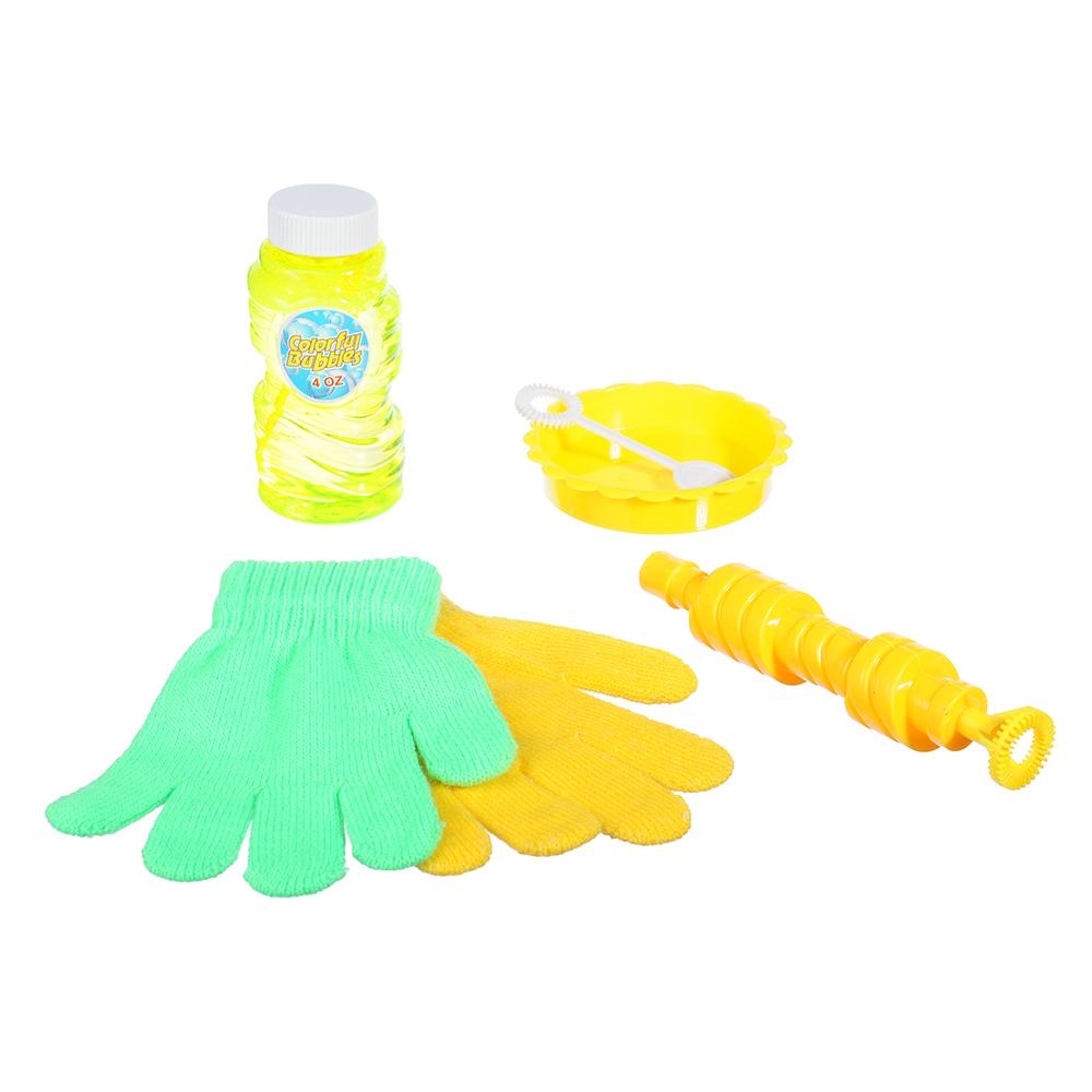 Мыльные пузыри эластичные с перчатками, 6 предм., мыльный р-р 118мл, пласт., ПЭ, 19х28х5см