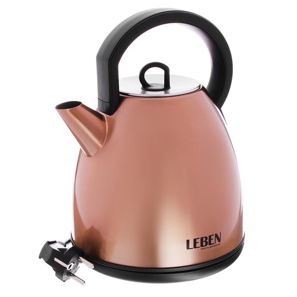 Чайник электрический 1,7 л LEBEN, 2200 Вт, нержавеющая сталь, бронза