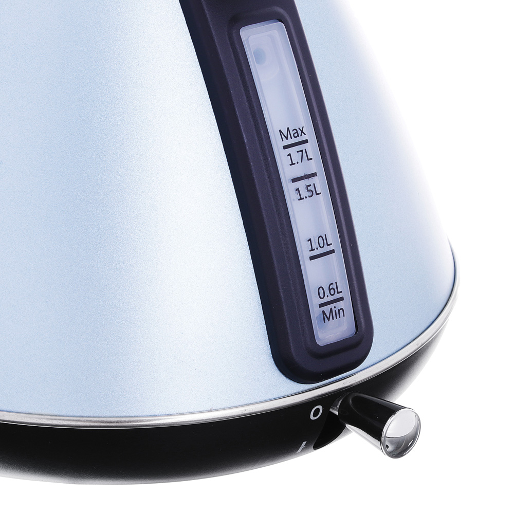 LEBEN Чайник электрический 1,7л, 2200Вт, нерж. сталь, конус, голубой