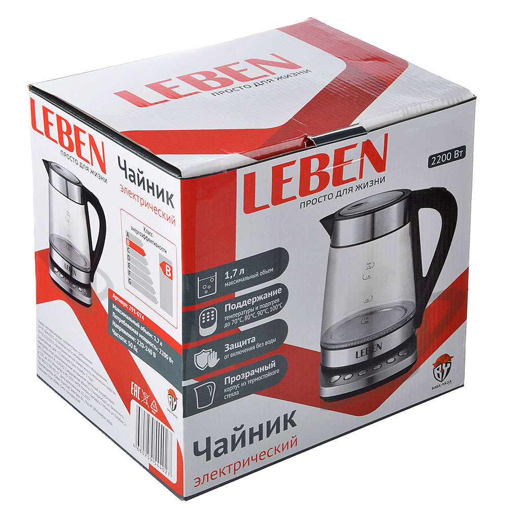 Чайник электрический 1,7 л LEBEN, 2200 Вт, подсветка, сталь/стекло