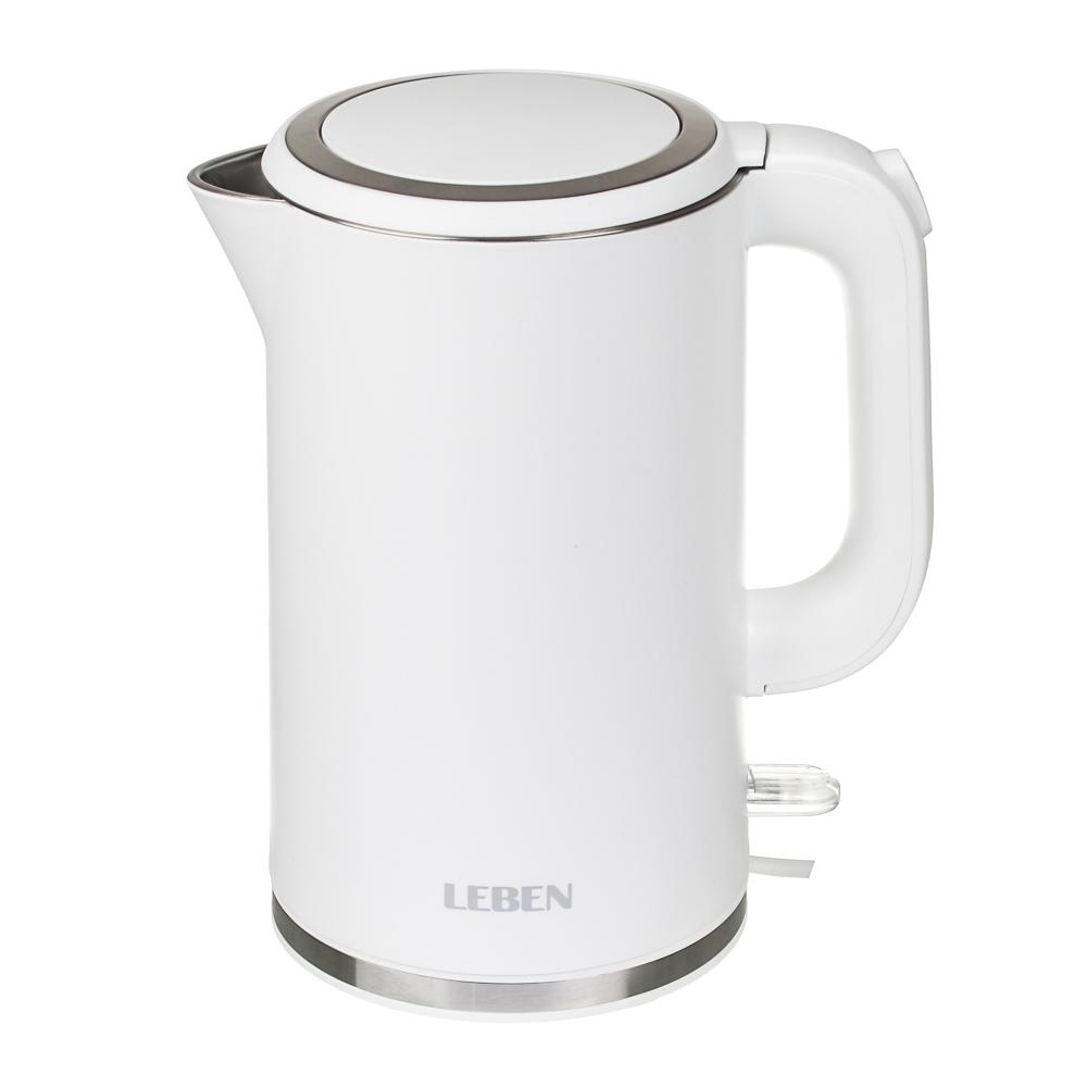 Чайник электрический LEBEN 1,8л, 2200Вт, скрытый нагр.элемент, двойное покрытие, белый