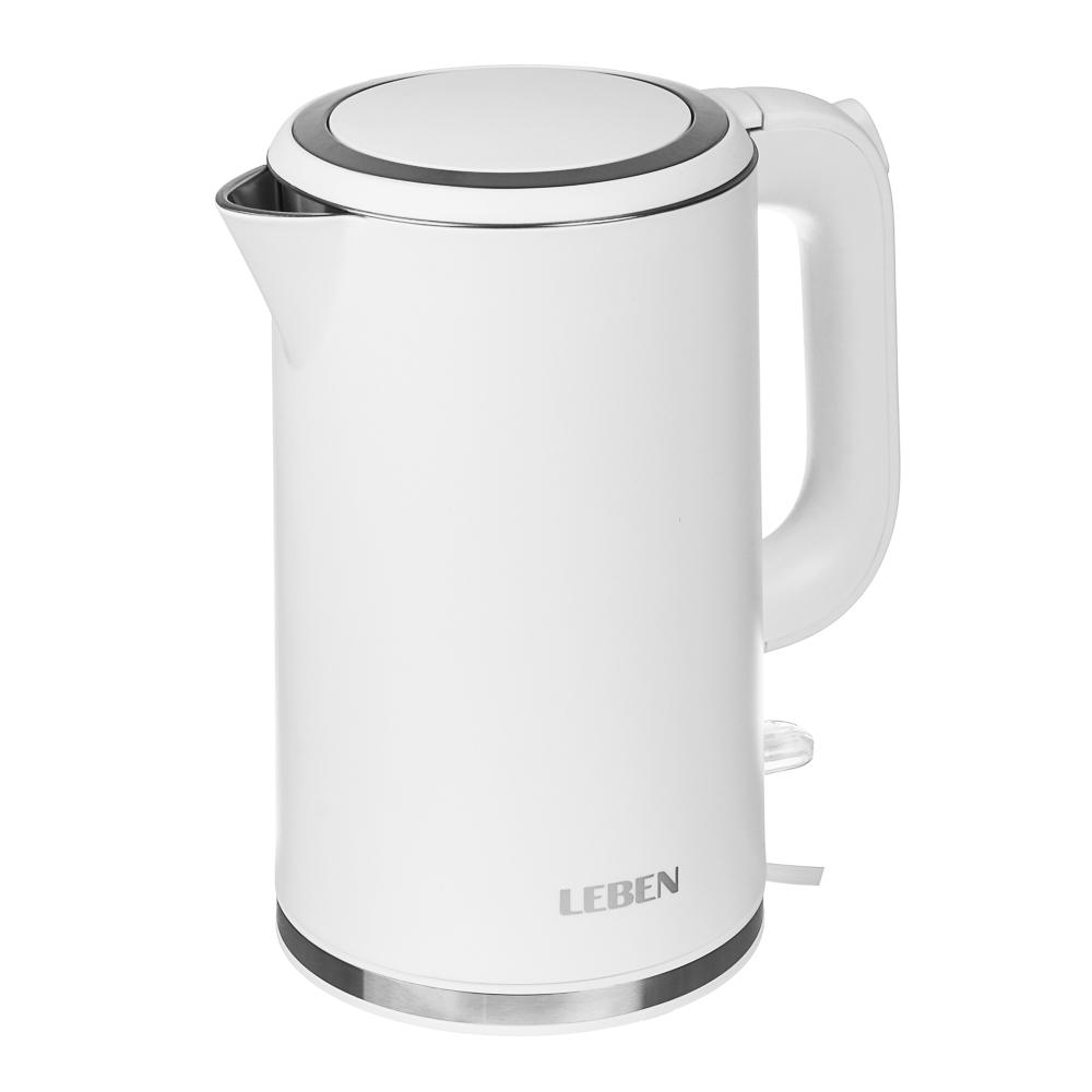 LEBEN Чайник электрический 1,8л, 2200Вт, скрытый нагр.элемент, двойное покрытие , 2 цвета