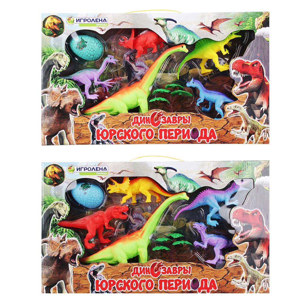 ИГРОЛЕНД Набор фигурок динозавров, 7пр., ПВХ, ПС, 47x27x6см, 2 дизайна