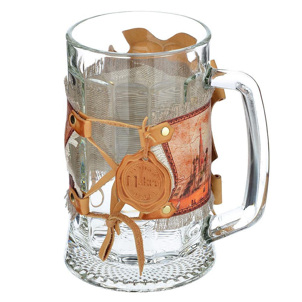 Футляр с кружкой (натуральная кожа) с художественной вставкой, 21х16,5х17, кожа, стекло, 031-08-07