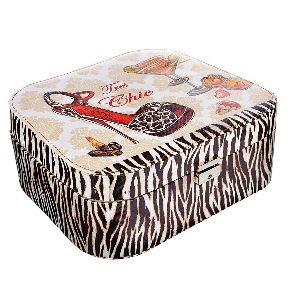 Шкатулка для украшений, МДФ, картон, полиэстер, 18х18х7 см, арт HY31038