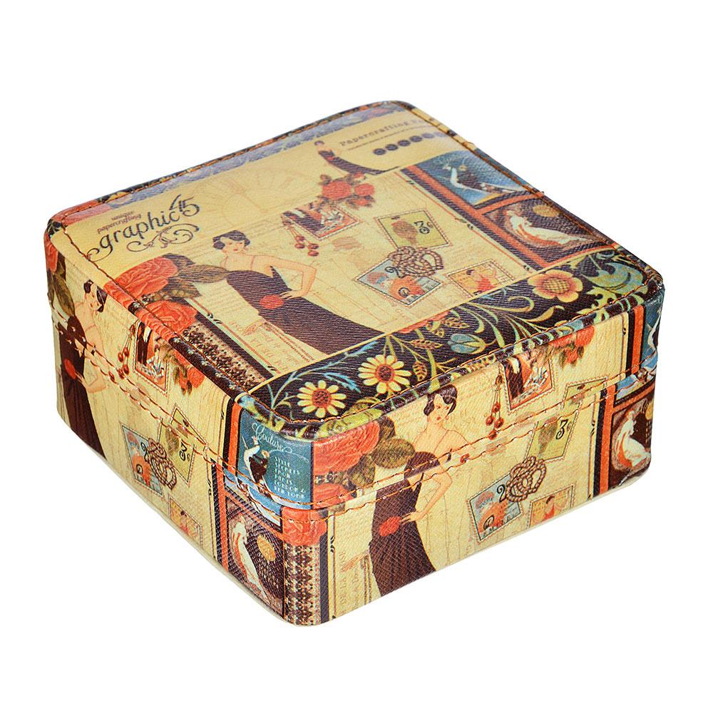 Шкатулка для украшений, МДФ, картон, полиэстер, 10,2х10,2х6 см, арт HY19087