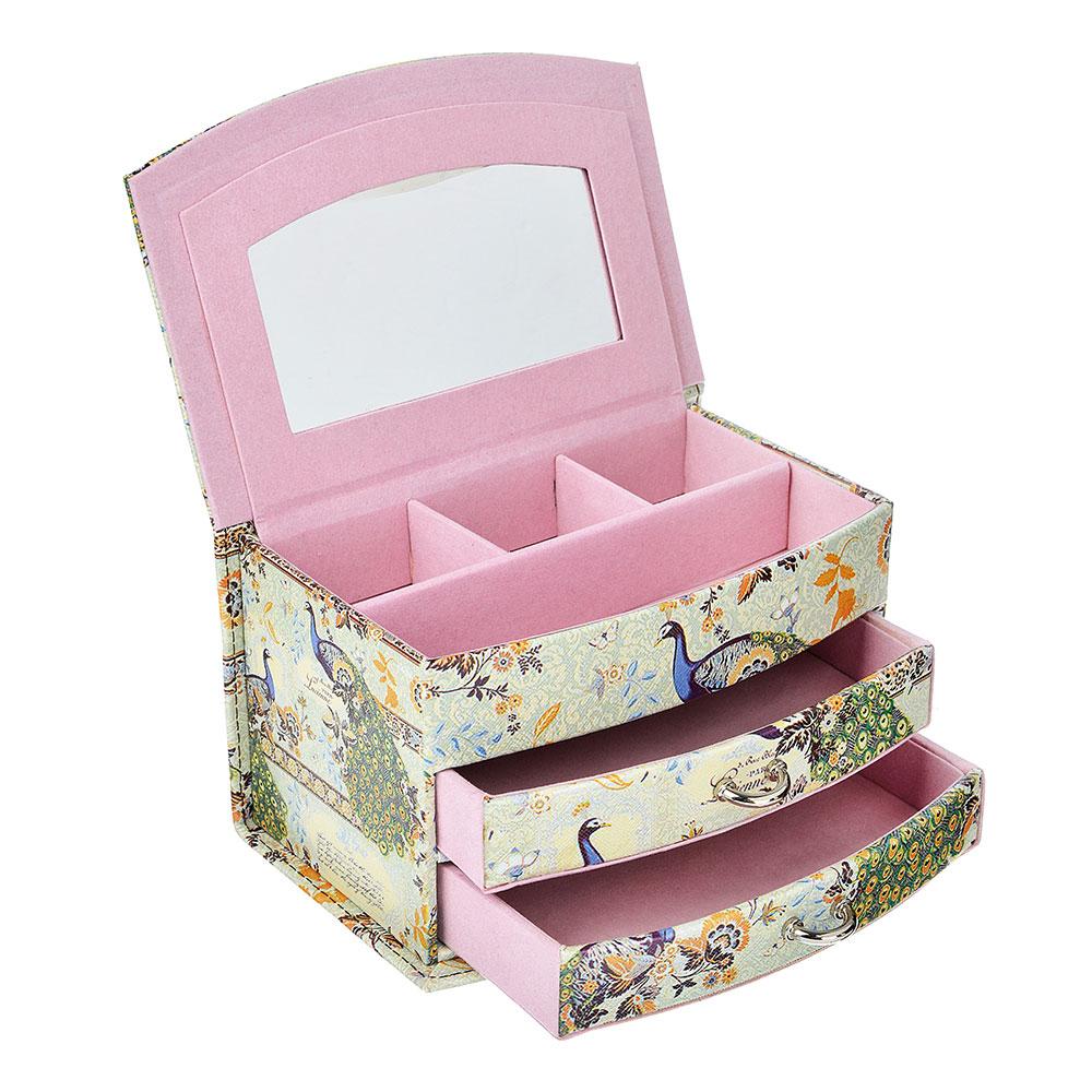 Шкатулка для украшений с зеркалом, МДФ, картон, полиэстер, 19х12,5х11 см, арт HY60491-1