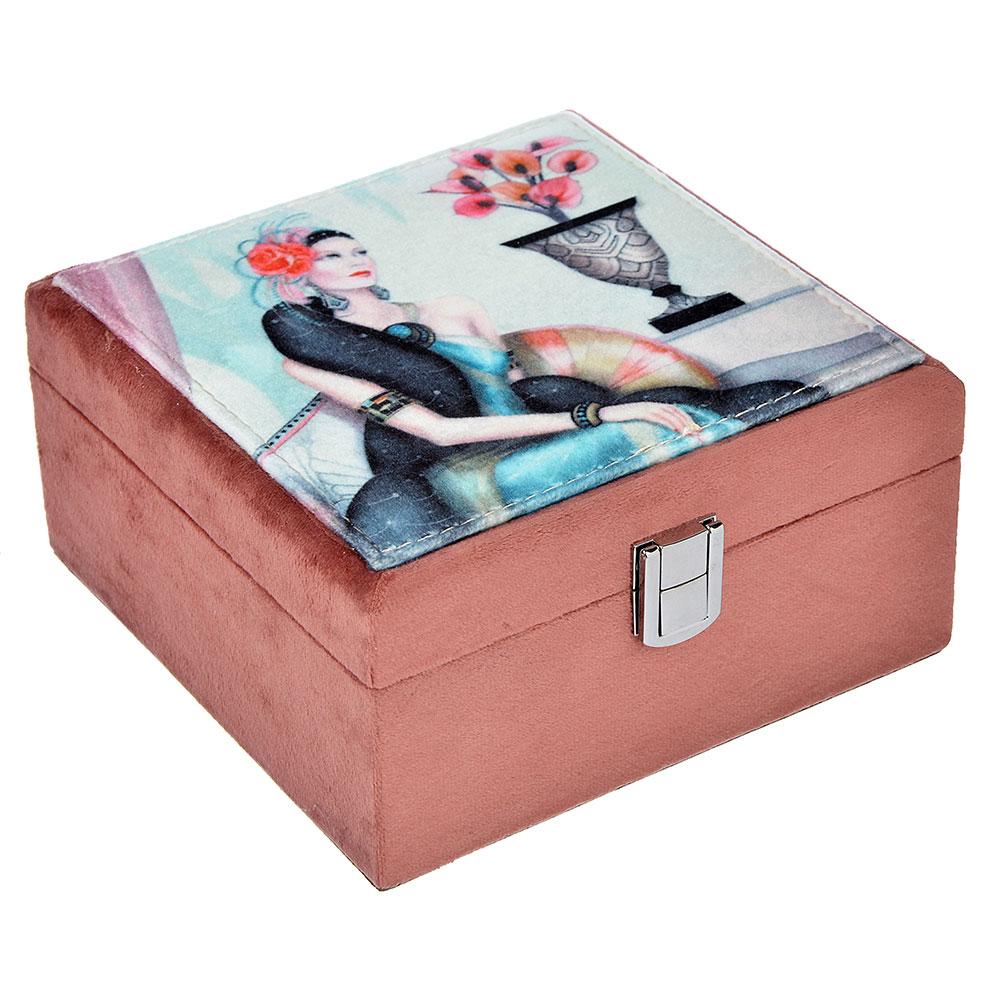 Шкатулка для украшений, МДФ, картон, полиэстер, 17х18х9 см, арт 124HY115