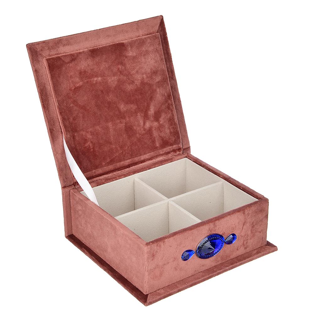 Шкатулка для украшений, МДФ, картон, полиэстер, 23х16,5х11,5 см, арт 124HY143