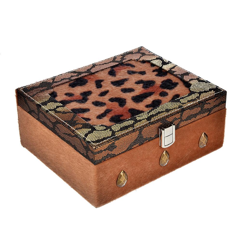Шкатулка для украшений, МДФ, картон, полиэстер, 22х18х9 см, арт 124HY241