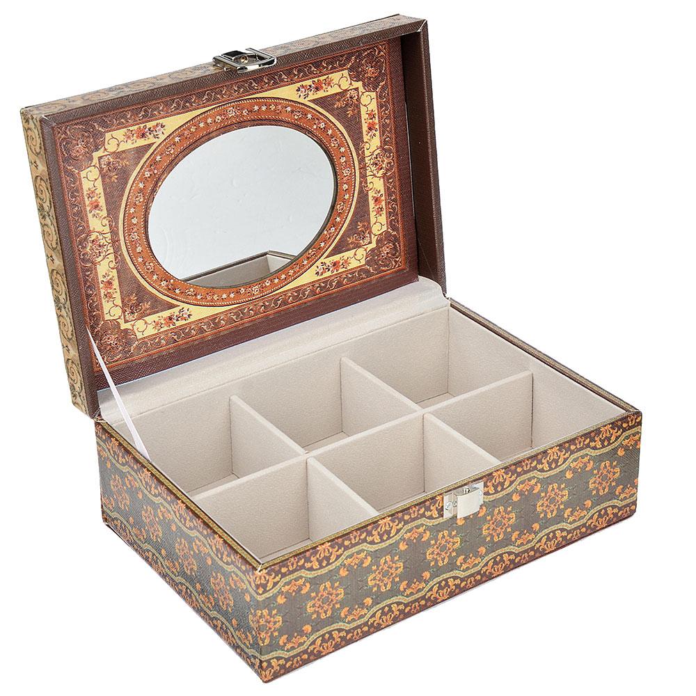 Шкатулка для украшений с зеркалом, МДФ, картон, полиэстер, 23х16,5х10 см, арт 122HY045