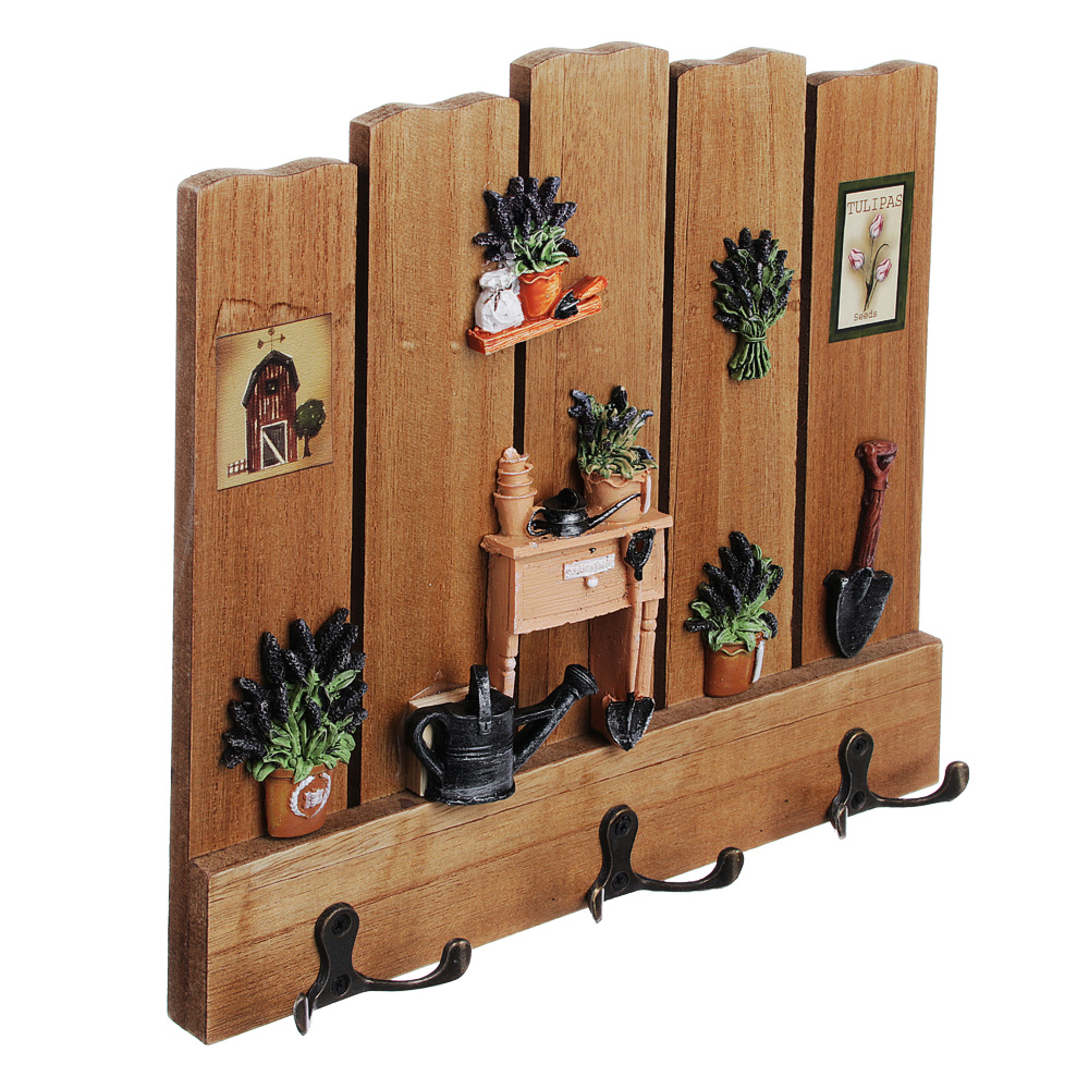 Ключница открытого типа с декором, три двойных крючка, 25,5х25 см, МДФ, 2 дизайна