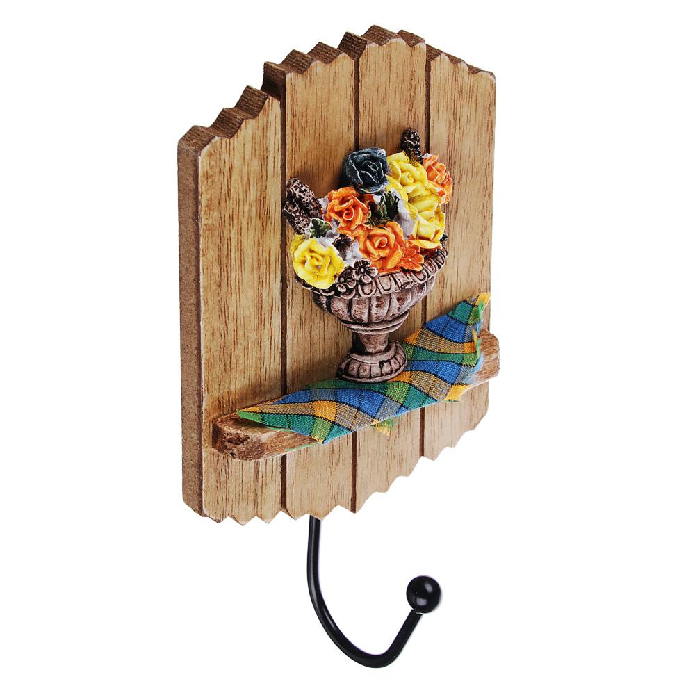 Крючок декоративный, 18х9,5 см, МДФ, 2 дизайна, 2 цвета