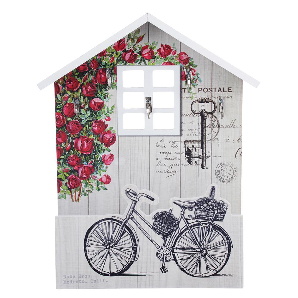 Ключница открытого типа с изображением велосипеда, 20,5х30х8 см, МДФ, 5 крючков