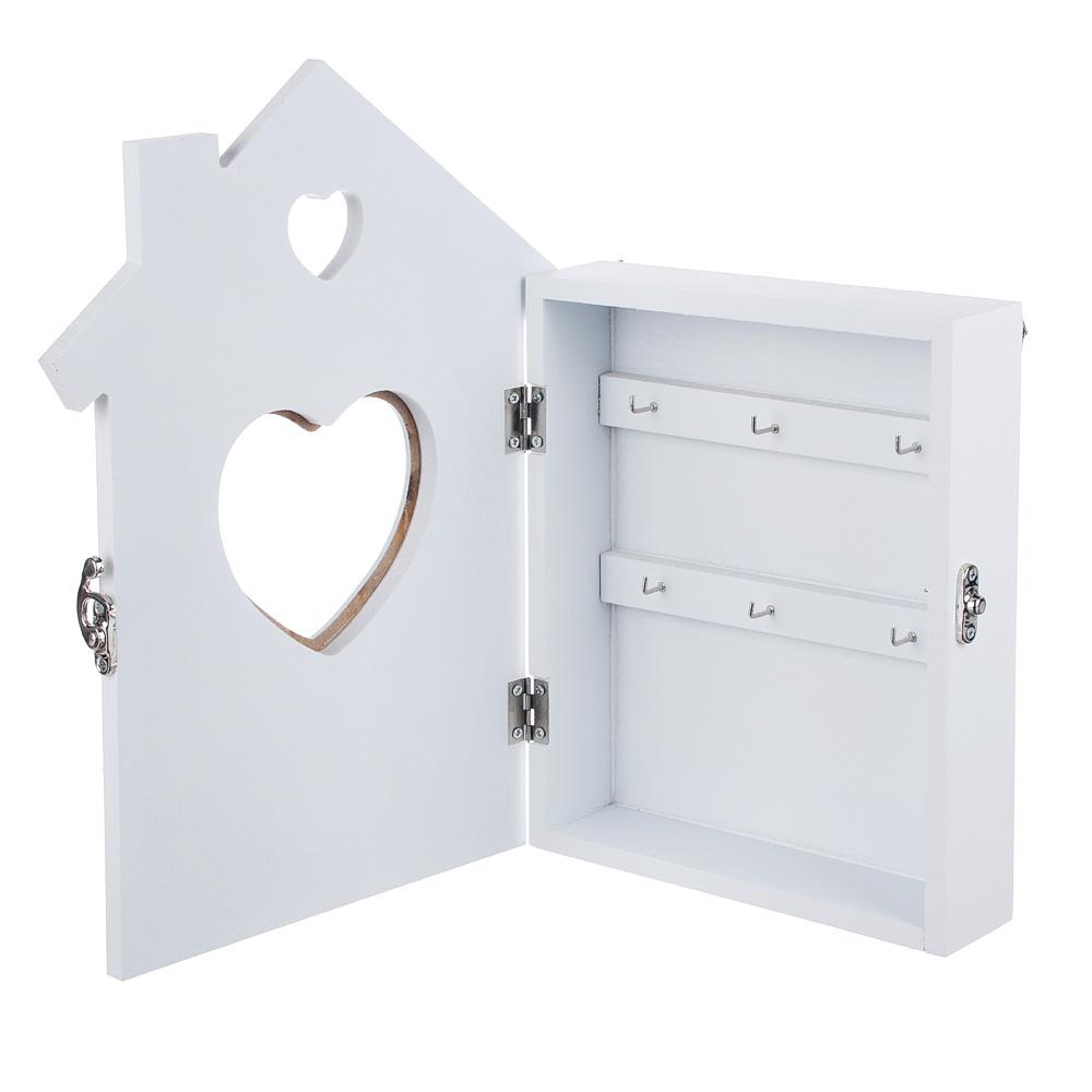 Ключница закрытого типа, с сердцем, 30х21,5х4,5 см, МДФ, 6 крючков