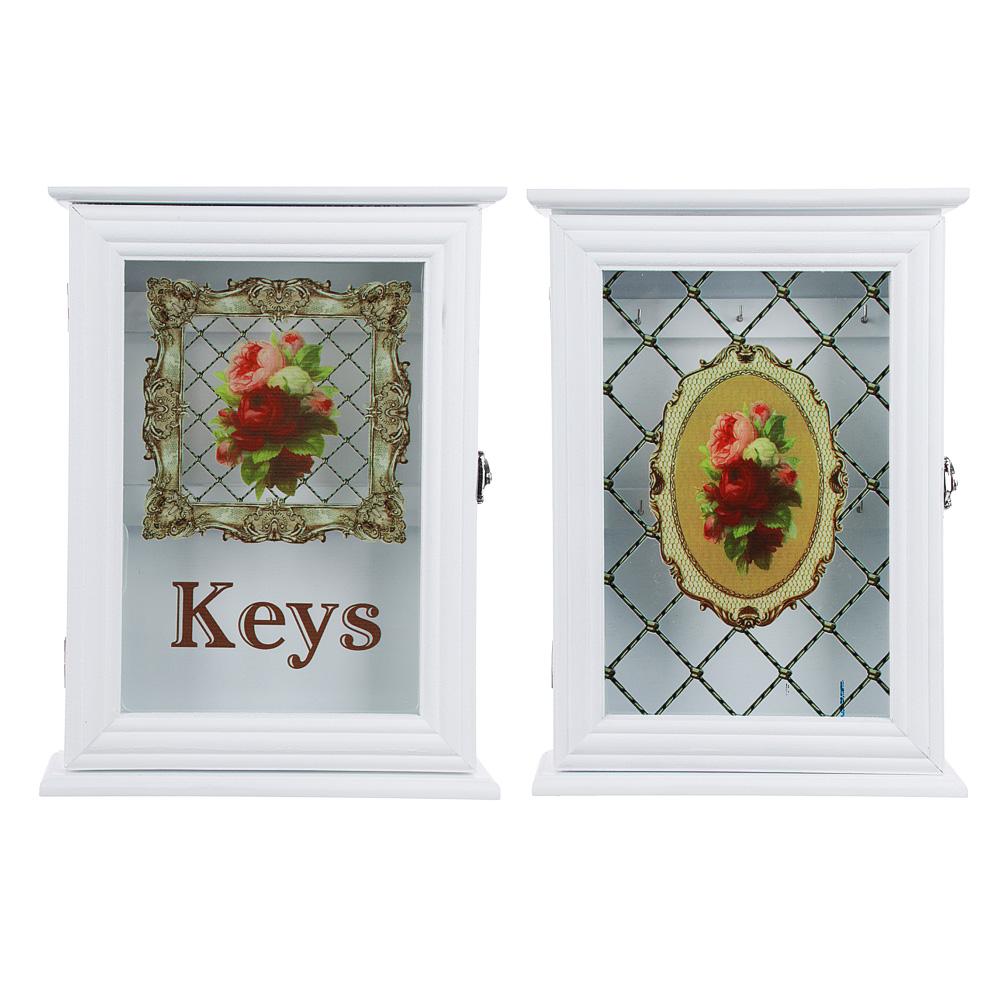 Ключница закрытого типа со стеклом, 30х22х5,5 см, МДФ, 2 дизайна, 6 крючков