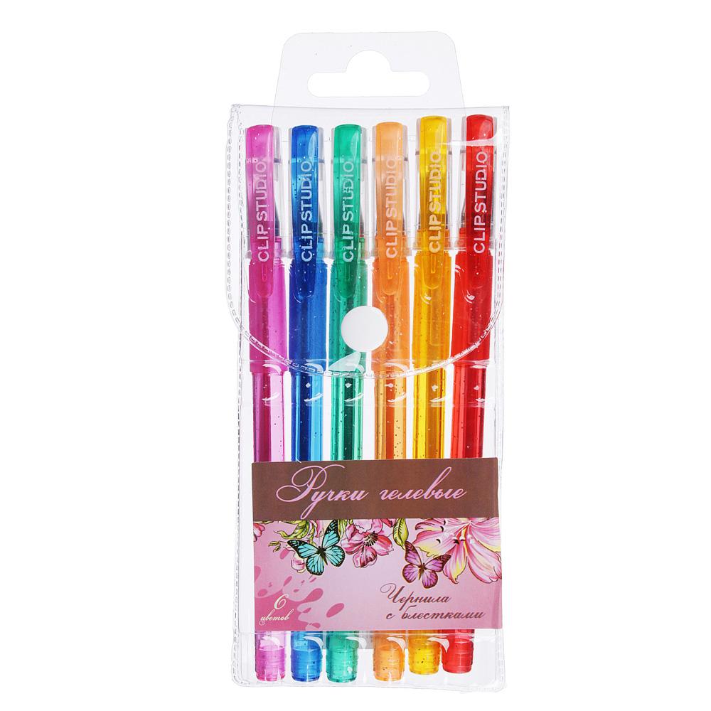 Набор гелевых ручек Волшебный полет с блестками 0,7мм, 6 цветов