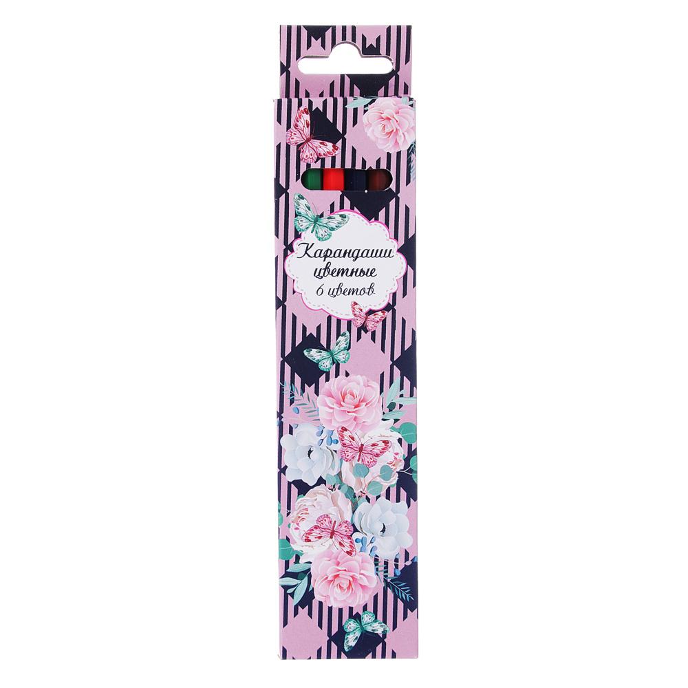 Карандаши Волшебные цветы 6 цветов, шестигранные заточенные