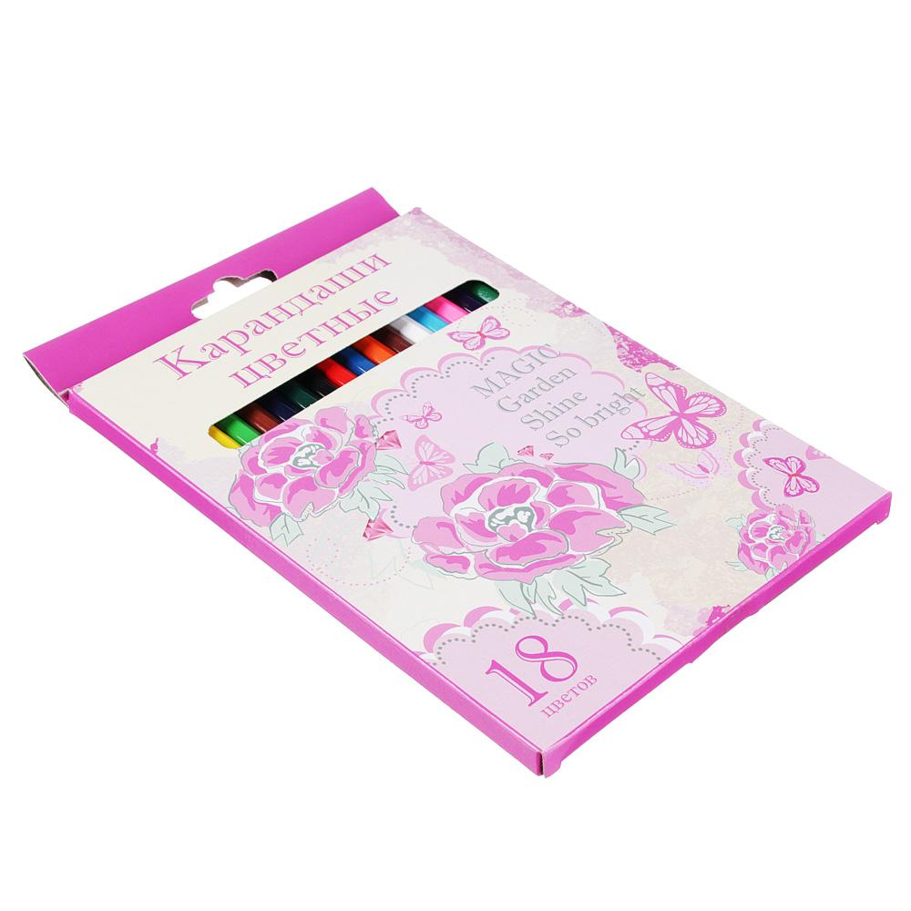Карандаши Джуниор гарден 18 цветов, шестигранные заточенные