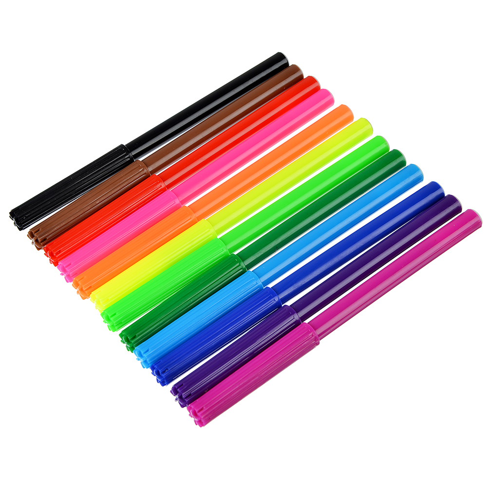Суперлига Фломастеры, 12 цветов, с цветным вентилируемым колпачком, в ПВХ пенале с подвесом