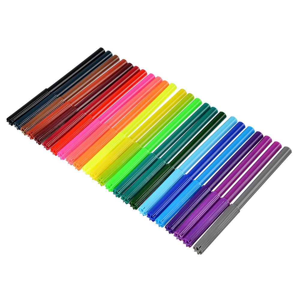 Суперлига Фломастеры, 24 цвета, с цветным вентилируемым колпачком, в ПВХ пенале с подвесом