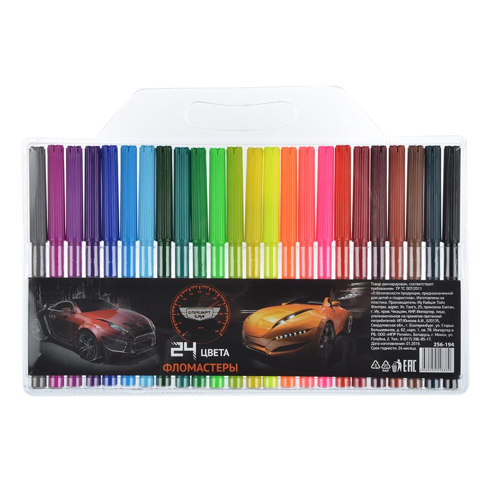 Концепт кар Фломастеры, 24 цвета, с цветным вентилируемым колпачком, в ПВХ пенале с подвесом