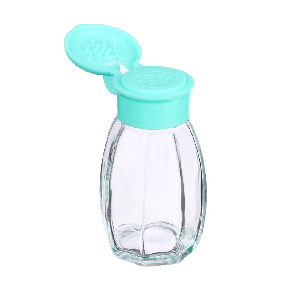 Солонка, стекло, пластик, 3,3х7,3см