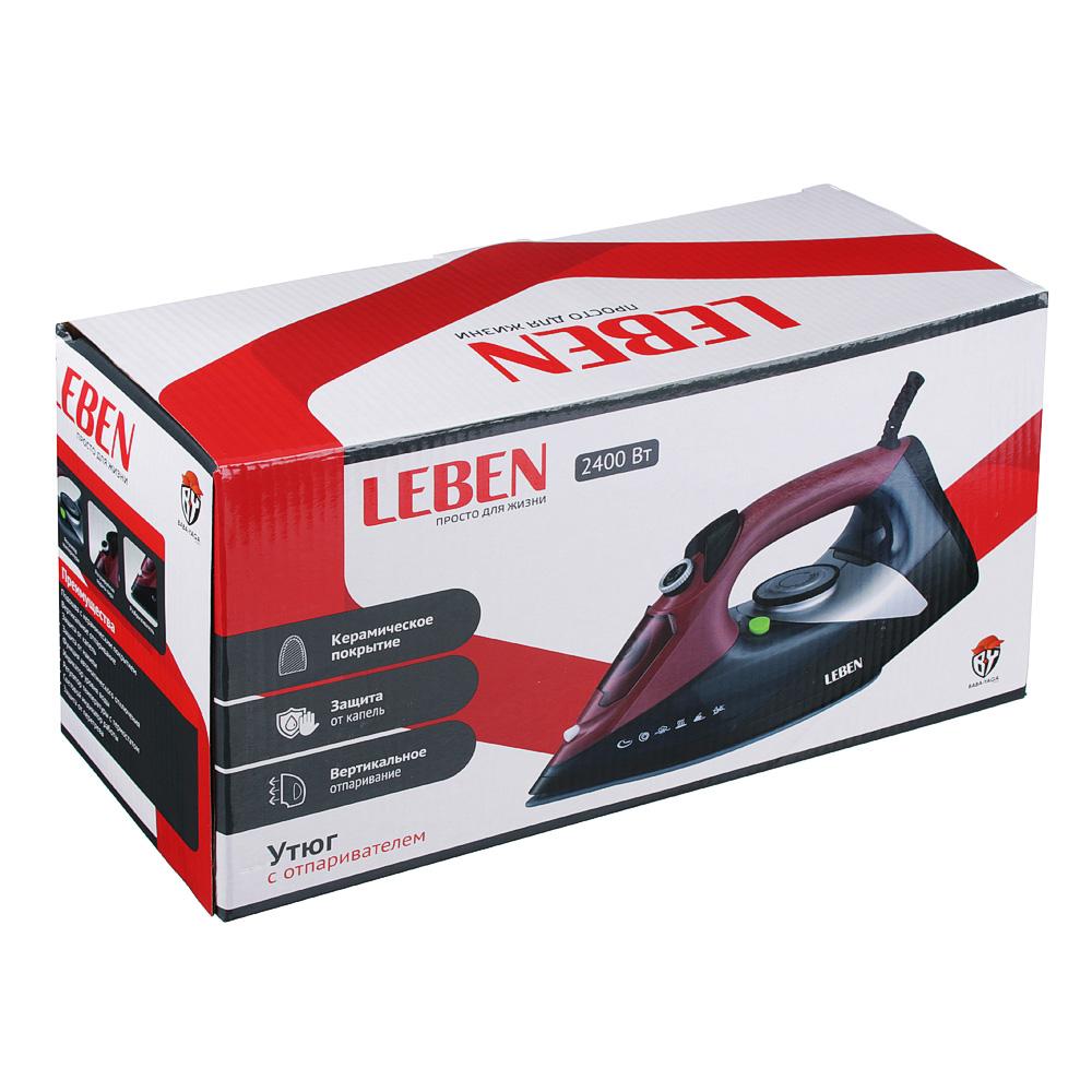 Утюг LEBEN 2400 Вт, подошва керамика, противокапельная система, бордовый/черный