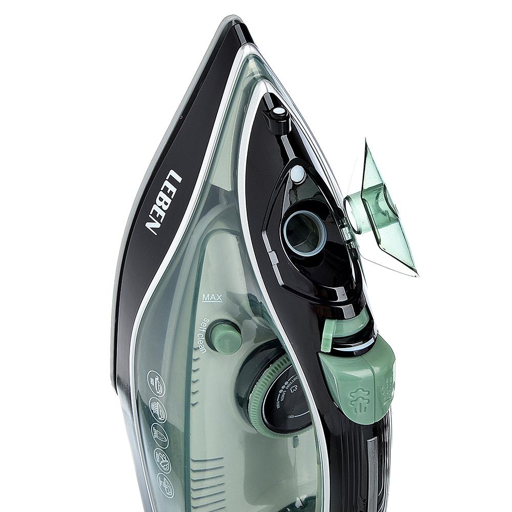 Утюг LEBEN 2000 Вт, подошва керамика, паровой удар, самоочистка, зеленый