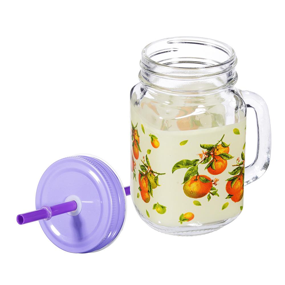 Апельсин и яблоко Бокал для напитков с крышкой и трубочкой, стекло, 500мл, 2 дизайна
