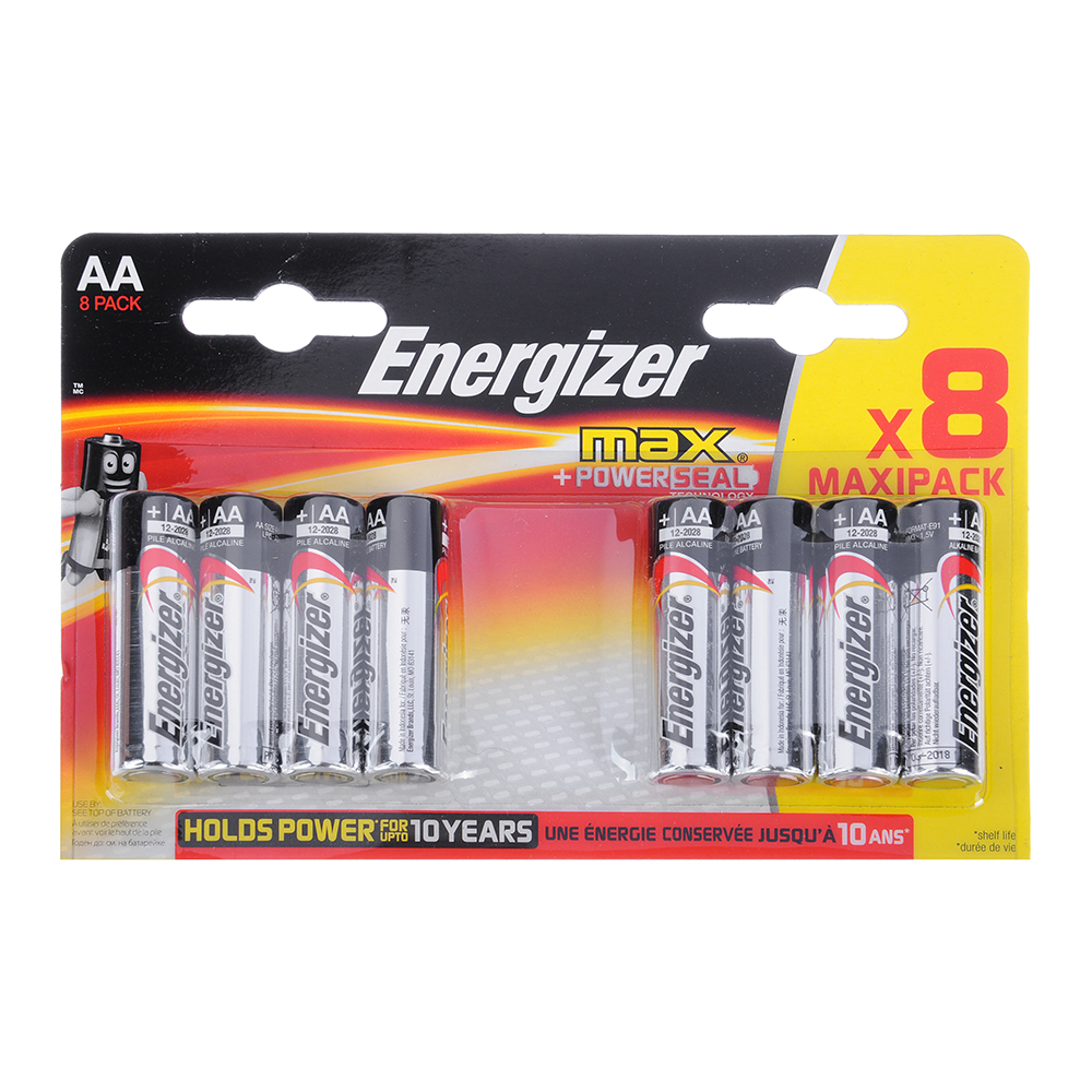 Батарейка алкалиновая Energizer MAX+Power Seal, АА LR6/316, 8шт