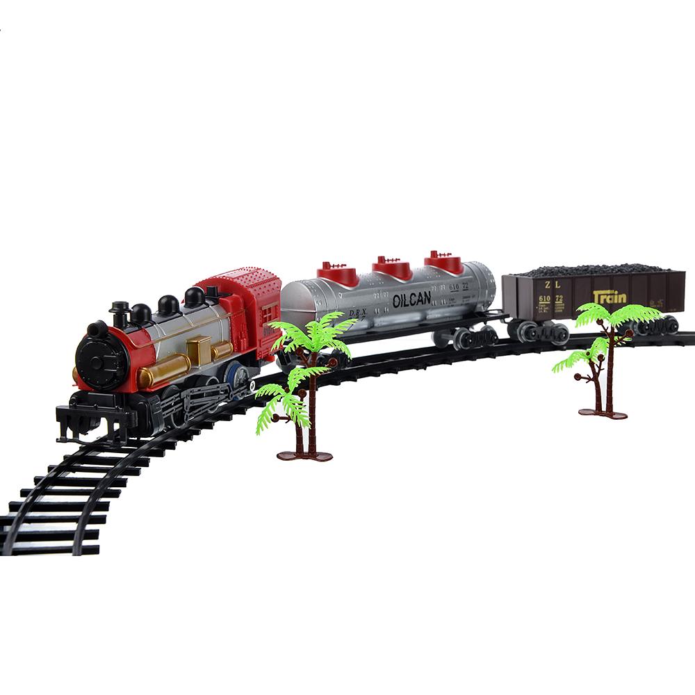 ИГРОЛЕНД Поезд с железнодорожными путями, пластик, 2АА, 120х7х5см