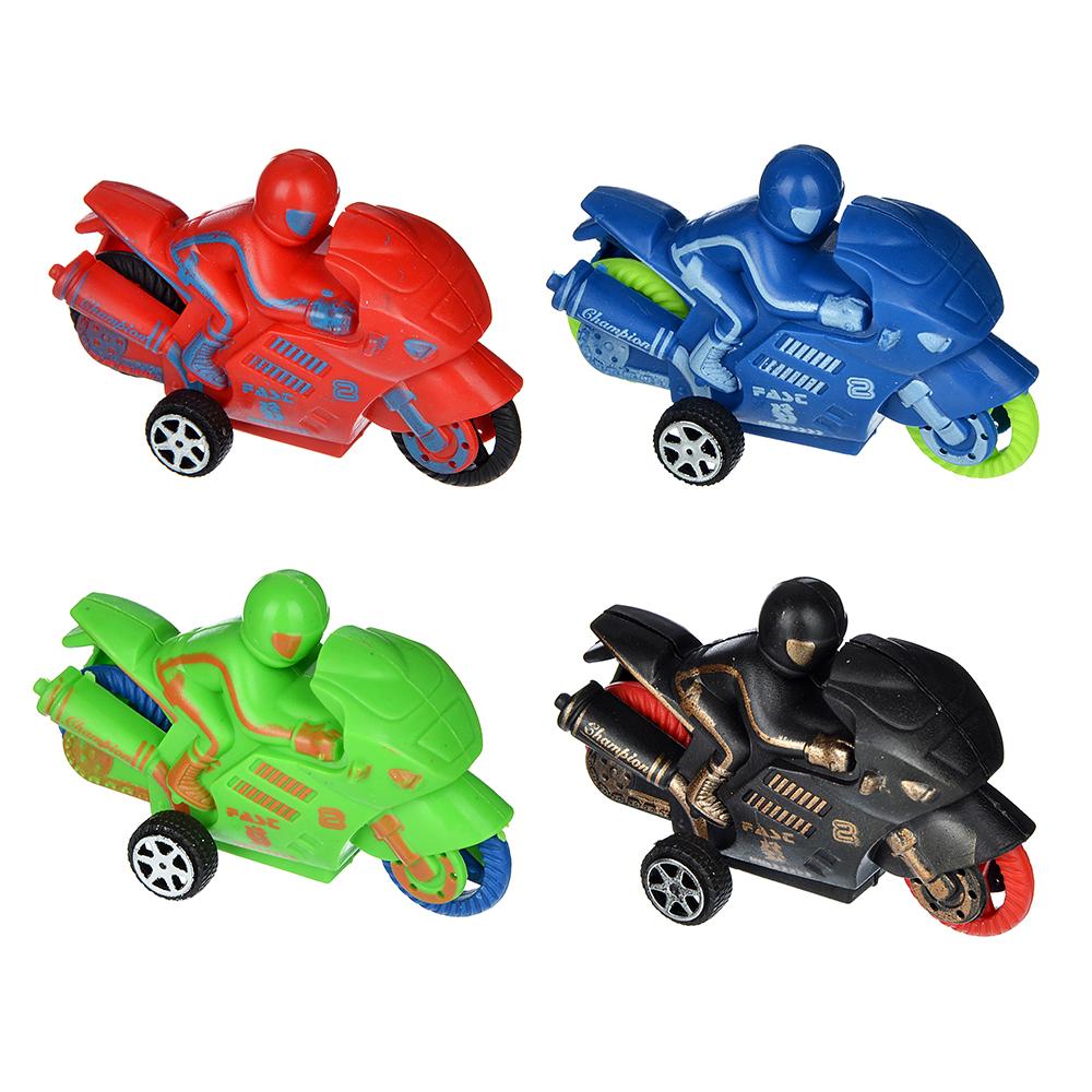 Мотоцикл инерционный, пластик, 8,6х4,2х2см, 4 цвета