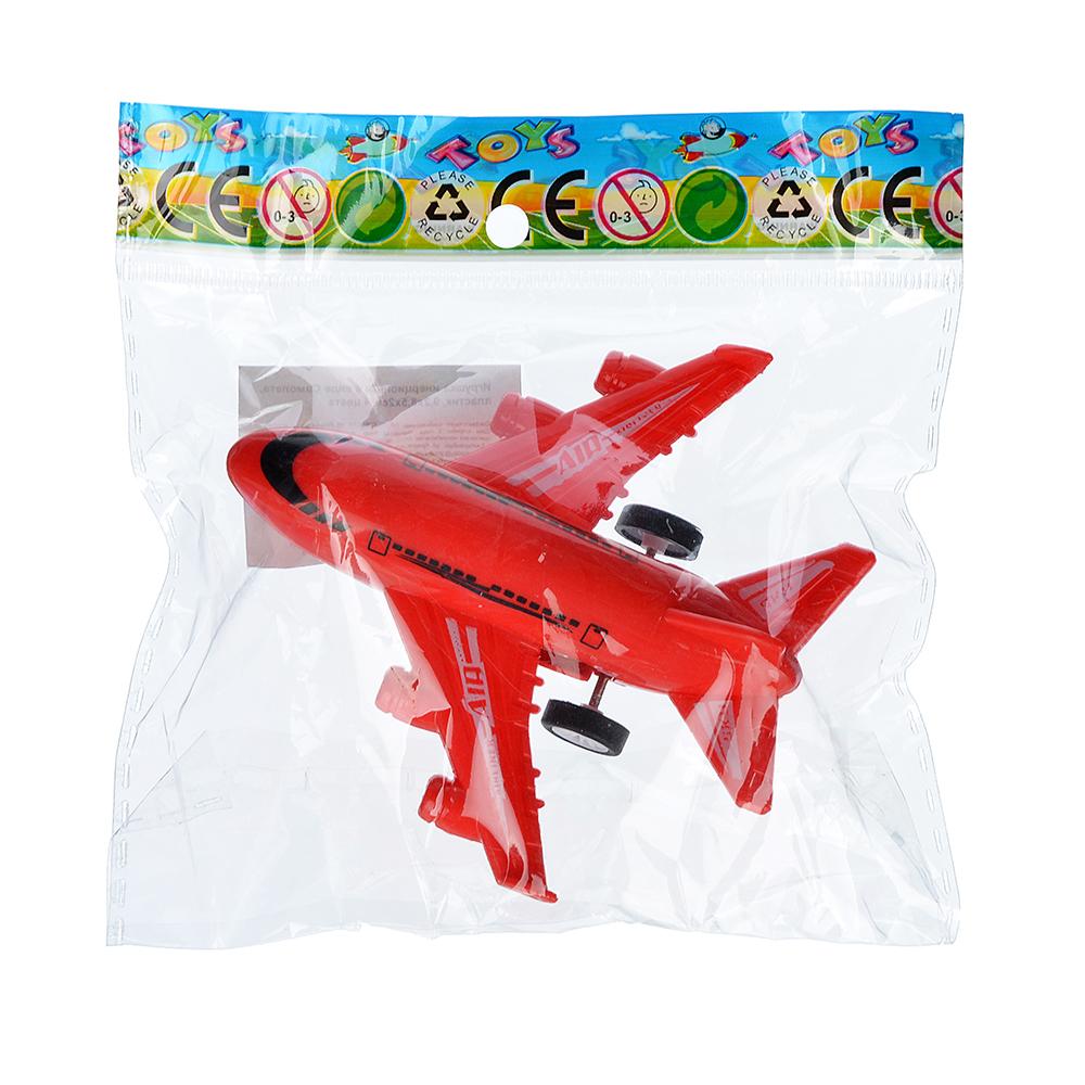 Игрушка инерционная в виде Самолета, пластик, 9,2х8,5х2см, 4 цвета