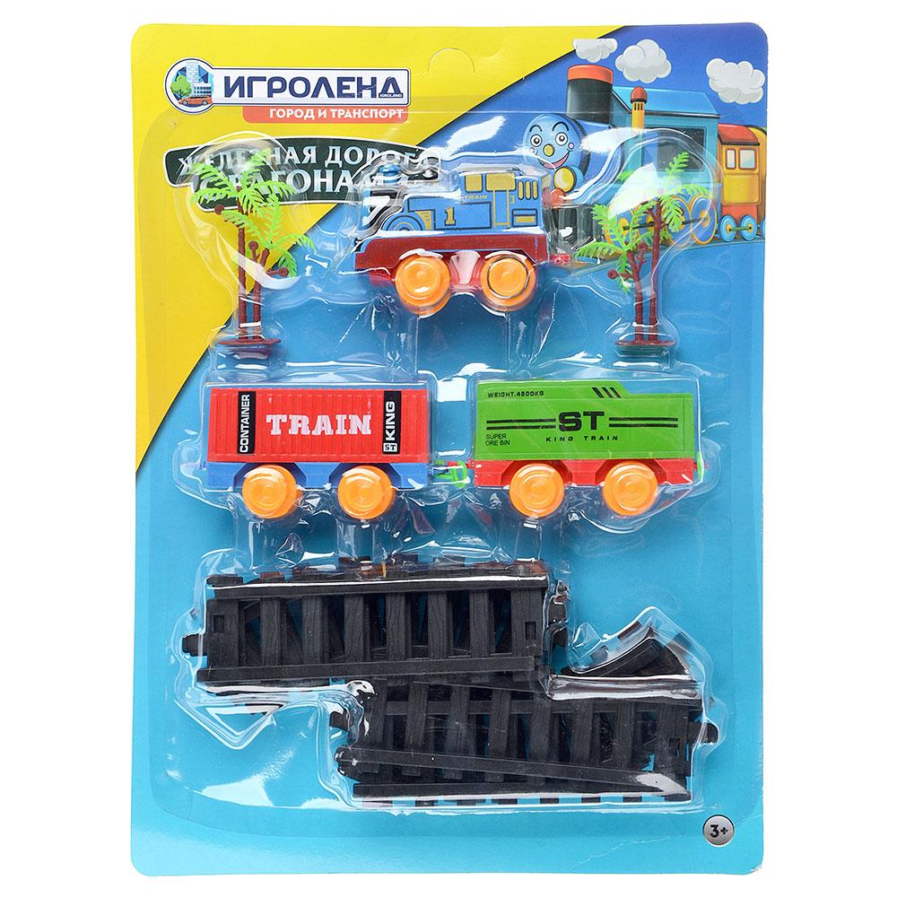 ИГРОЛЕНД Поезд 2 вагона с рельсами,движение,2хАА ,пластик, 38,6x28,6x4,5см