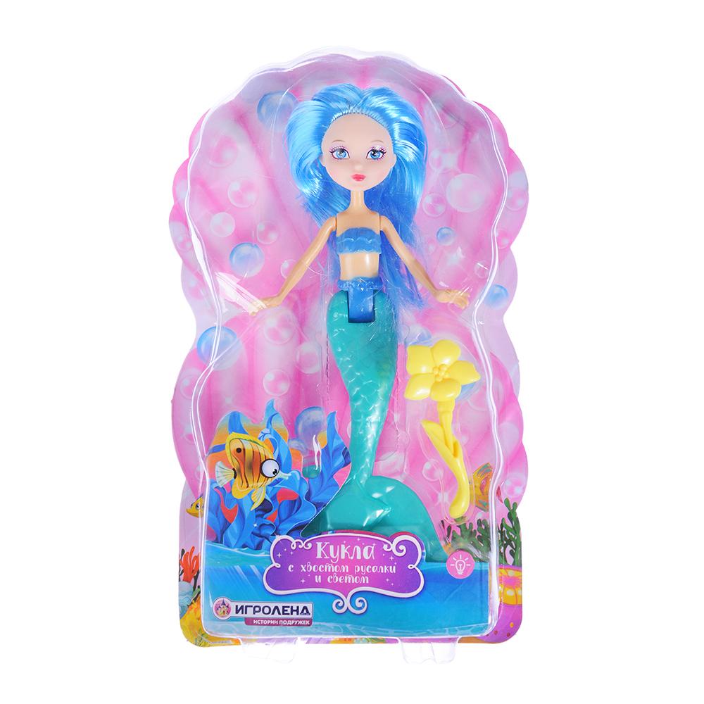 ИГРОЛЕНД Кукла с хвостом русалки, свет, пластик, полиэстер, 15x24х5см, 2 дизайна